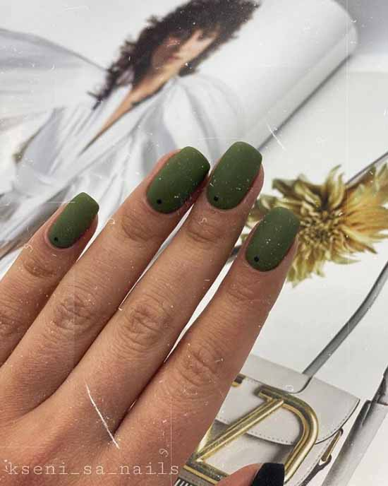 Drawings minimalism on green nails