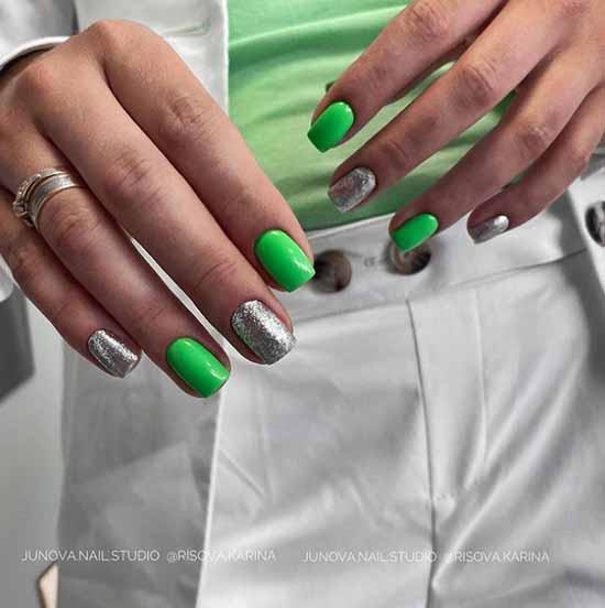 Green neon on short nails