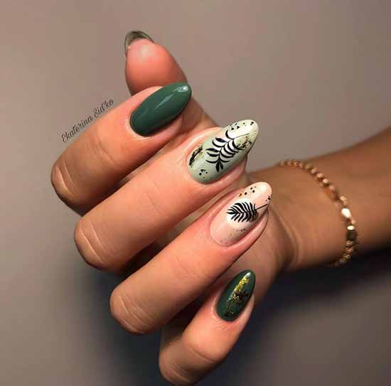 Floral print on green nails