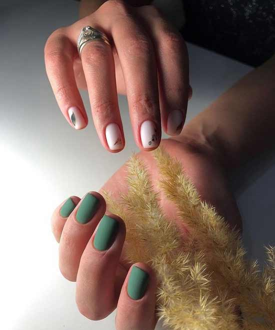 Green color manicure with design