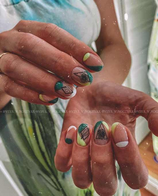 Green manicure with French design