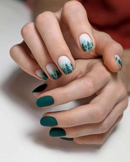 Green manicure design different hands