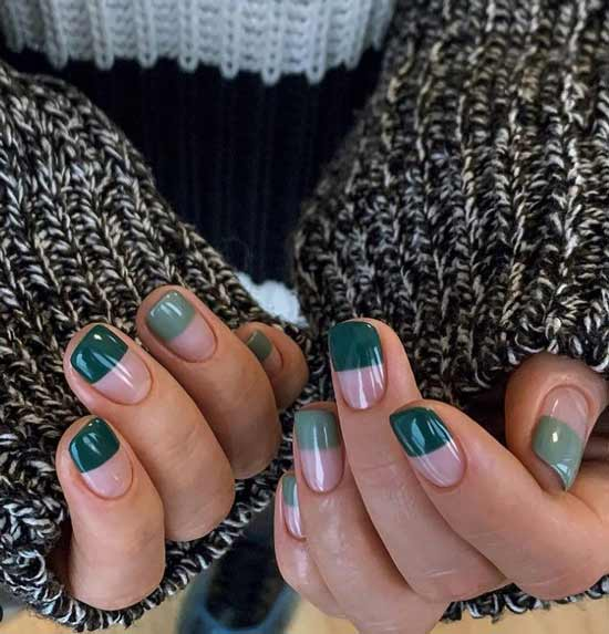 Green French to the middle of the nail
