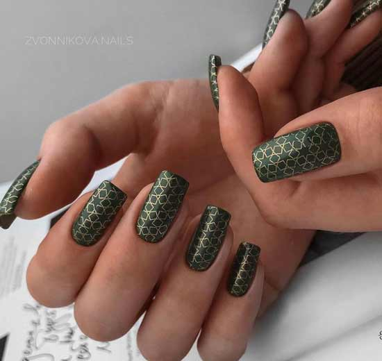Green manicure and stamping
