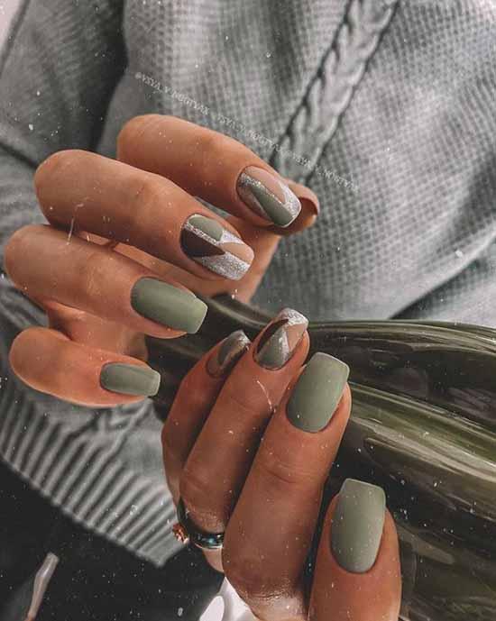 Green matte light manicure