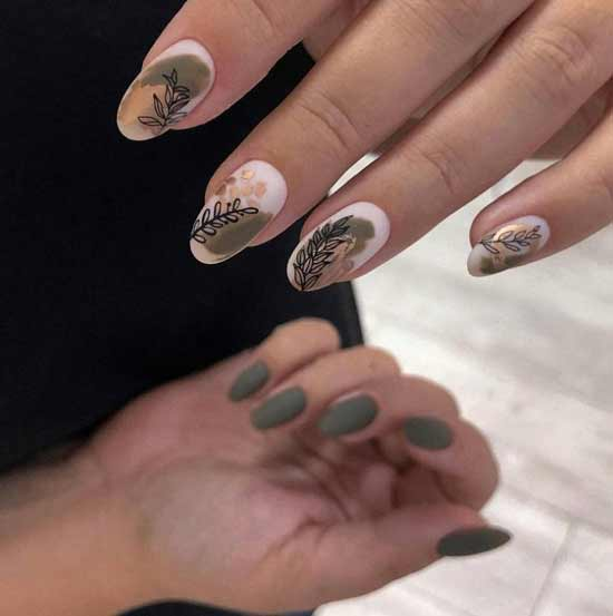 Green matte manicure