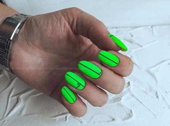 Green neon manicure