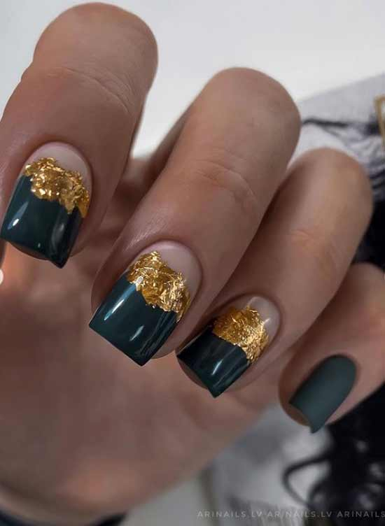 Green with gold foil