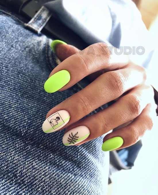 Matte neon manicure