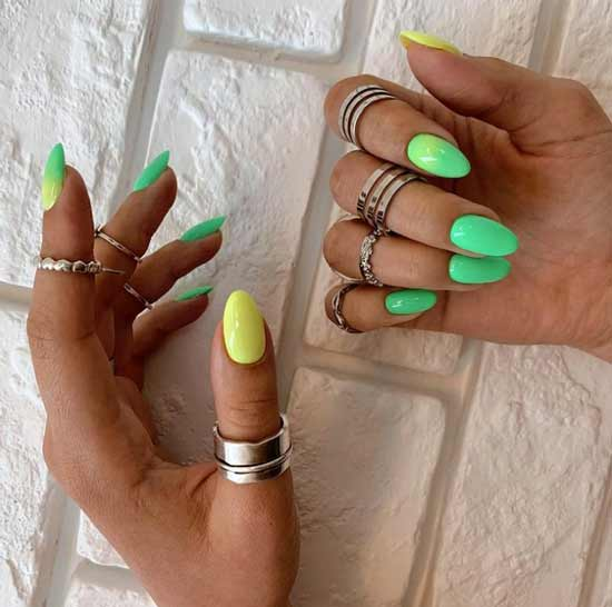 Green neon on nails