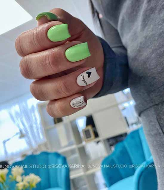 Summer green manicure