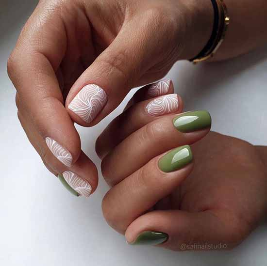 Green manicure 2021: photo of new items with the best nail designs