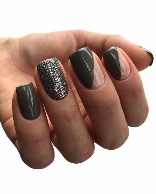 Khaki manicure with geometry