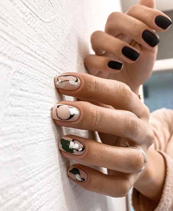 Khaki with black manicure