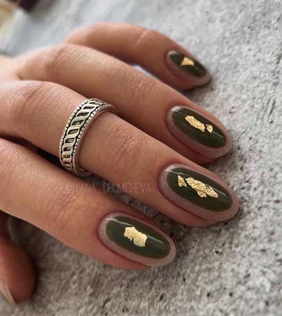Khaki manicure with foil