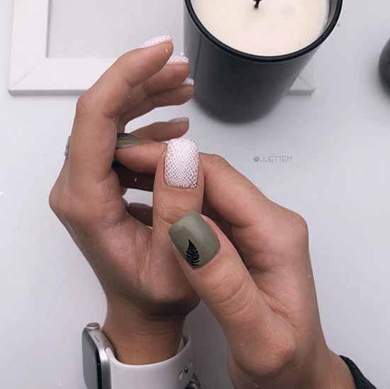 Khaki with white manicure