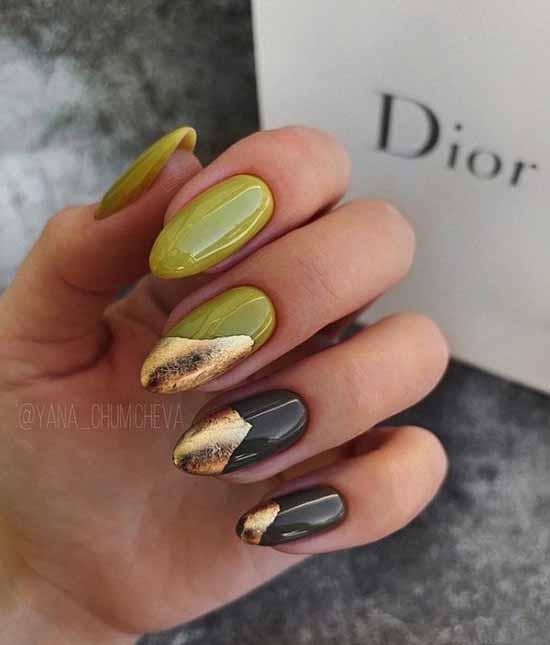 Khaki with foil nail design