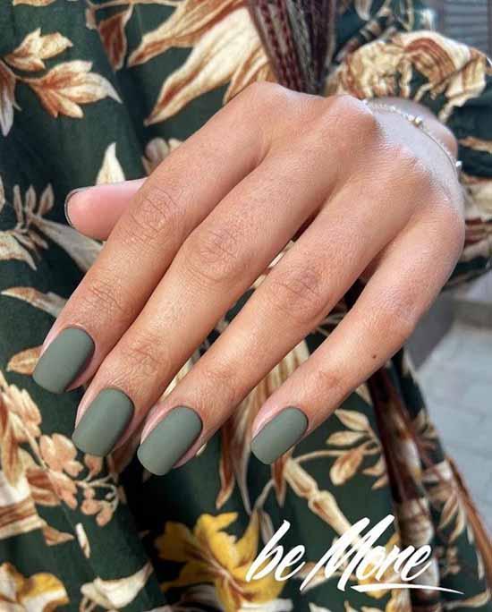 Khaki matte nail designs