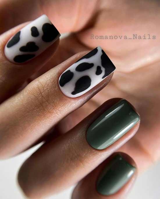 Photo manicure khaki color