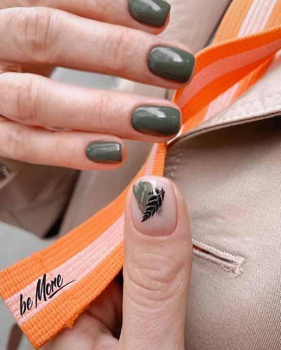 Minimalism khaki manicure