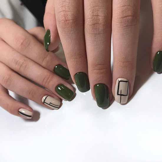 Khaki with geometry manicure