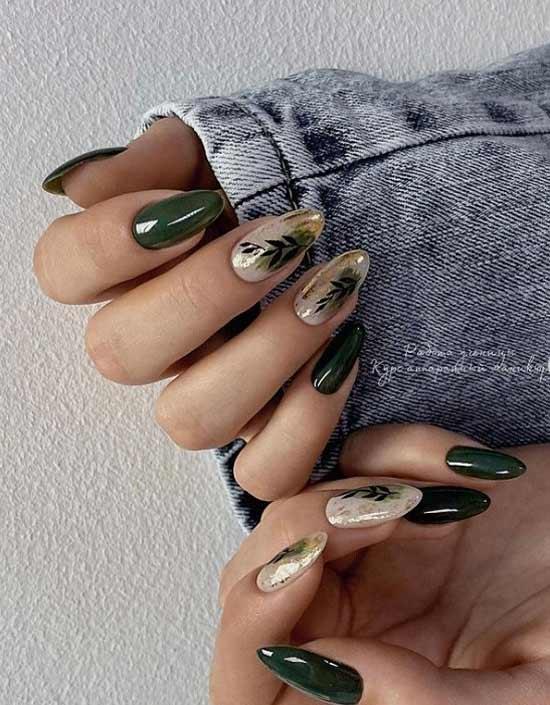 Dark green manicure with design