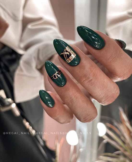 Long nails dark emerald