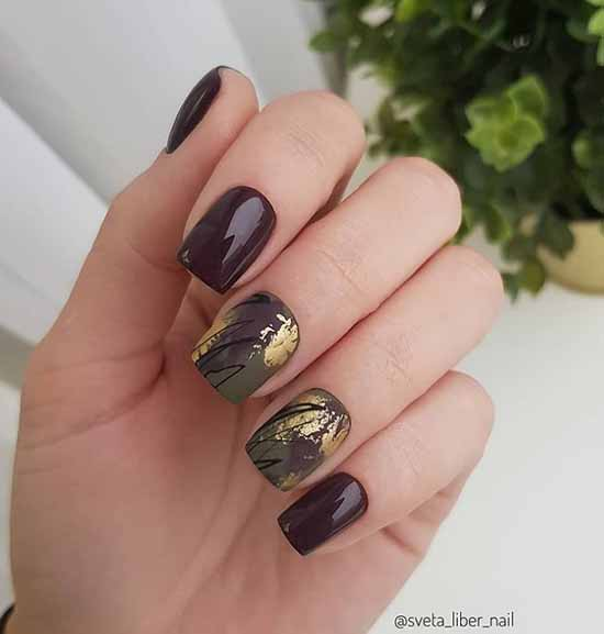 Burgundy green manicure