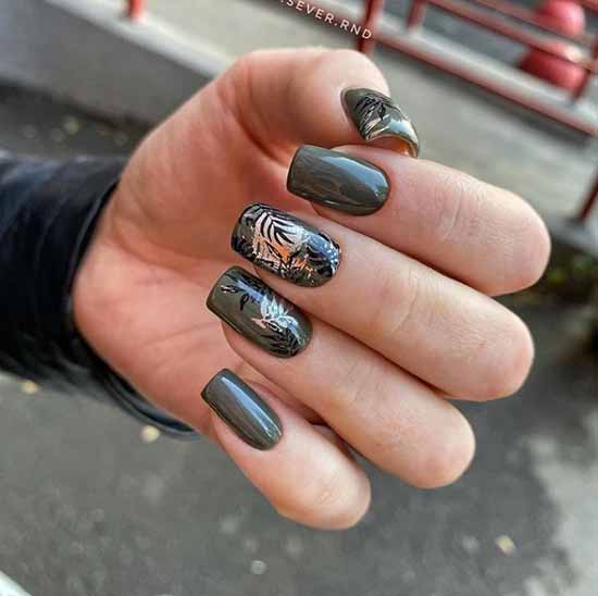 Khaki color manicure with design