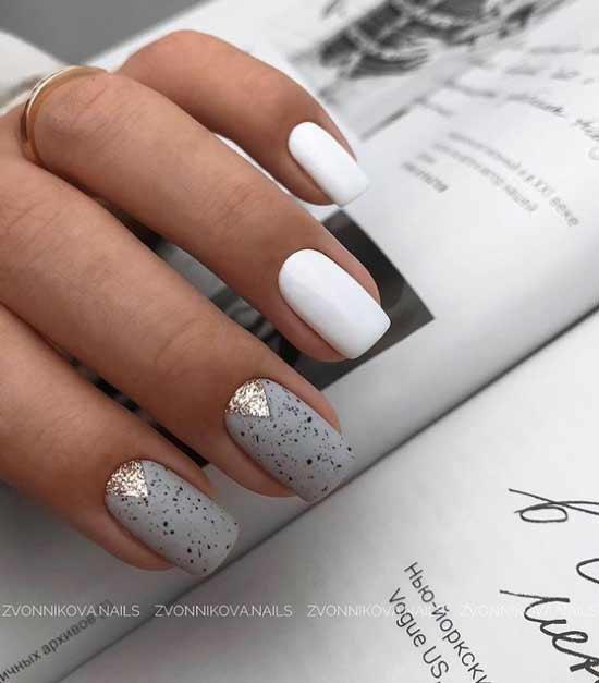 White ruffian glitter manicure