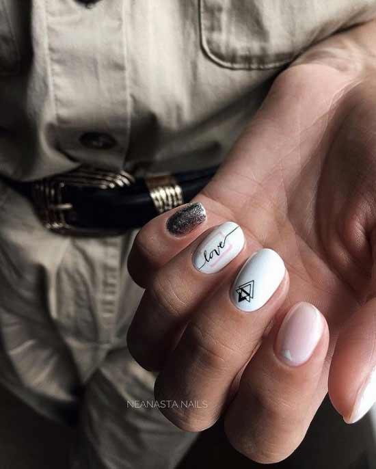 White matte glitter manicure