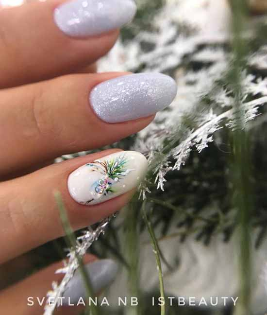 White nails with pattern and glitter