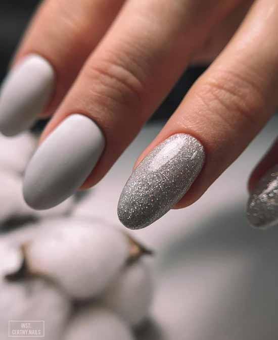 Matte white with glitters