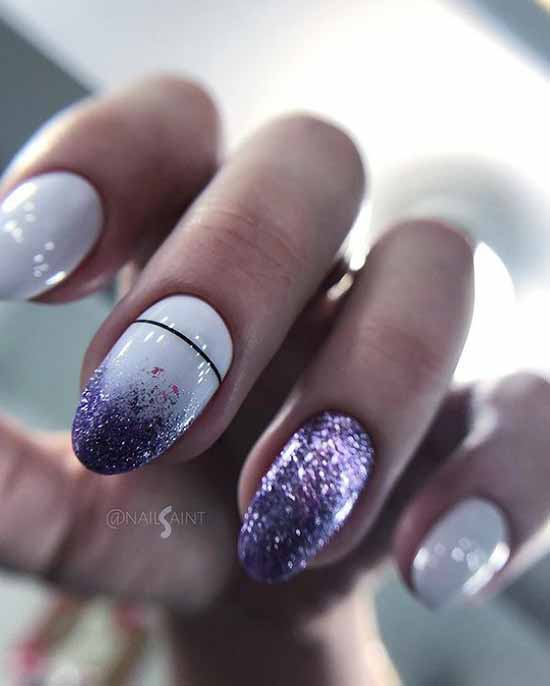 White nails with colored glitters on two nails