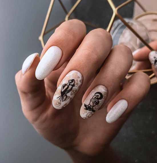 White manicure with glitter pattern