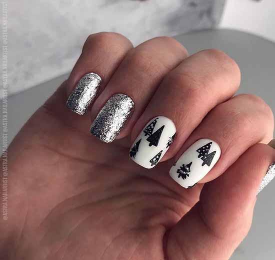 White and black glitter manicure