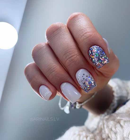 White manicure with colored glitter