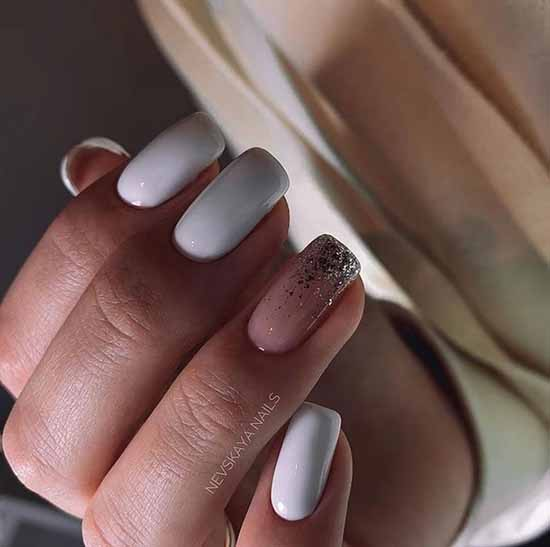 Solid white glitter nails on one nail