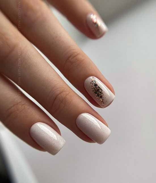 White with gold sequins