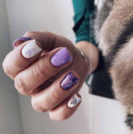Purple glitter on nails