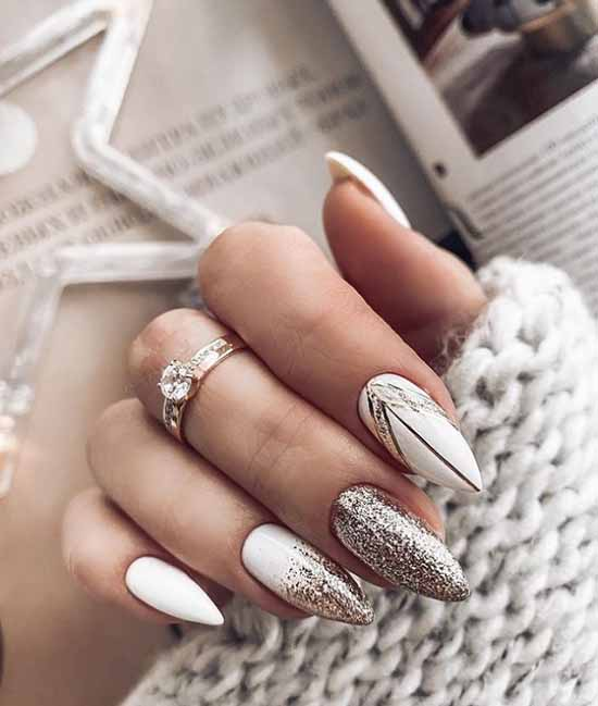 White almond nails with gold glitter