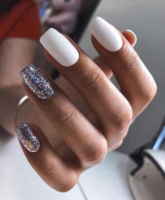 White matte manicure with colored sequins