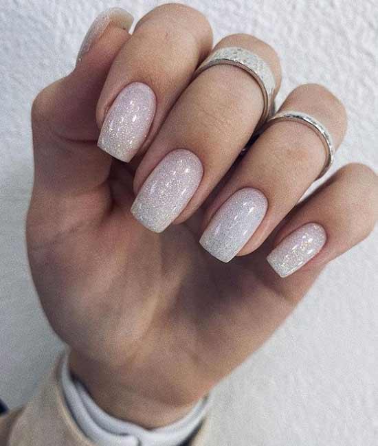 Glitter on white nails