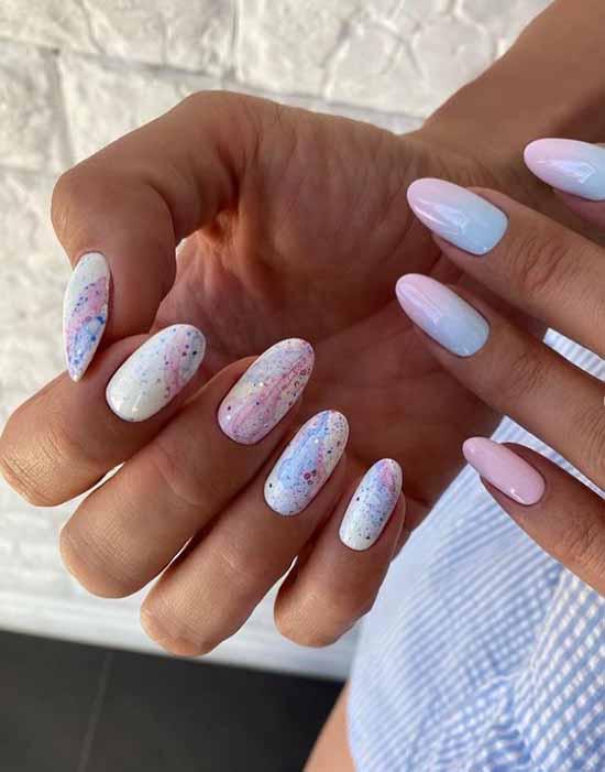 White pink glitter manicure