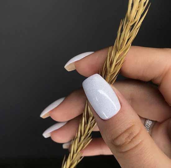 Solid White Glitter Nails
