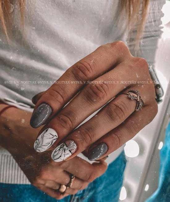 White gray glitter manicure