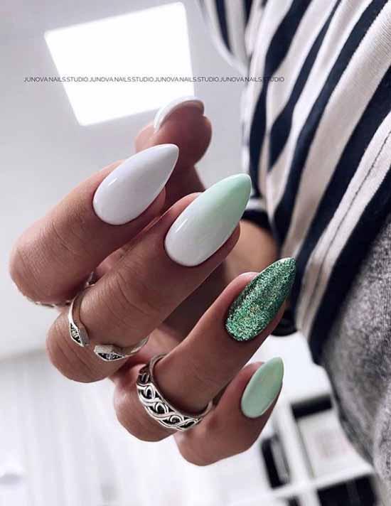 Green glitter on white nails