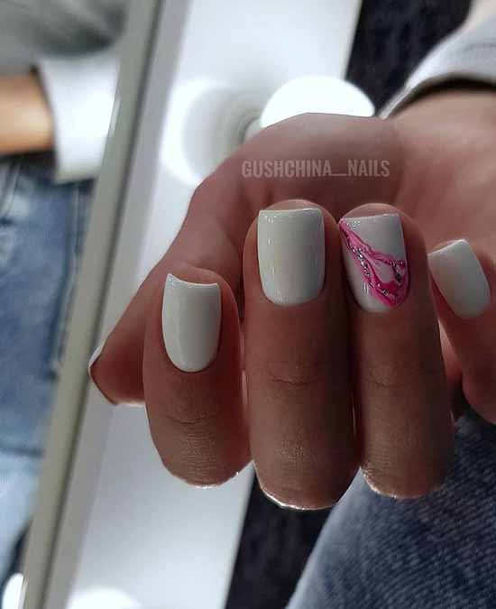 Beautiful white nails design drawing and glitter