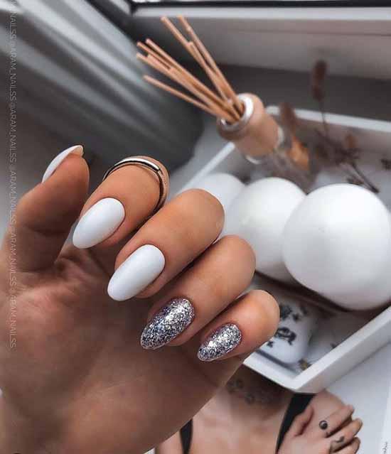 Matte White Glitter Nails