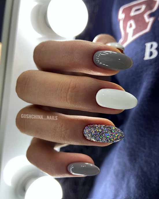 White glitter manicure: beautiful design in the photo, review